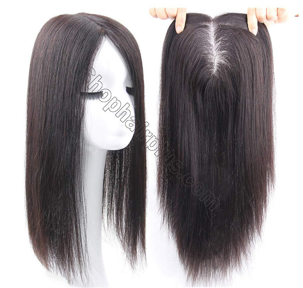 """Free Parting Human Hair Clip in Toppers for Women, 6""""x 6.7"""" Large Mono Crown Topper Hairpieces for Thinning Hair 3"""