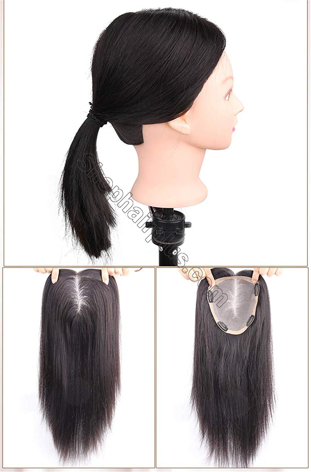 """Free Parting Human Hair Clip in Toppers for Women, 6""""x 6.7"""" Large Mono Crown Topper Hairpieces for Thinning Hair 4"""
