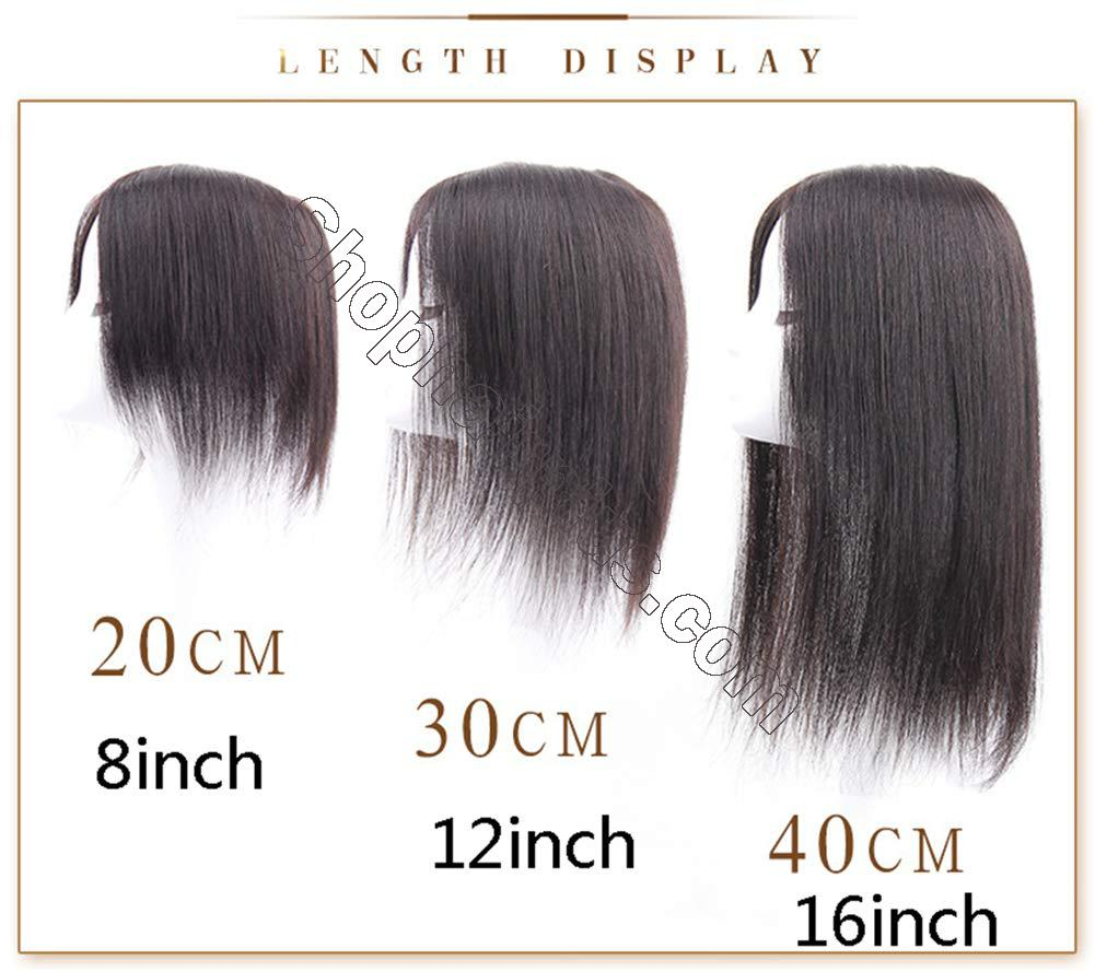 """Free Parting Human Hair Clip in Toppers for Women, 6""""x 6.7"""" Large Mono Crown Topper Hairpieces for Thinning Hair 6"""