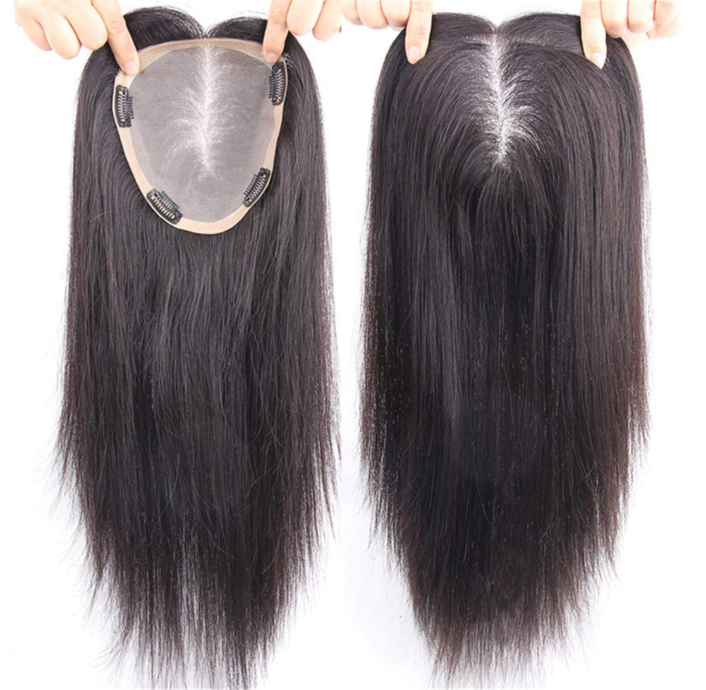 """Free Parting Human Hair Clip in Toppers for Women, 6""""x 6.7"""" Large Mono Crown Topper Hairpieces for Thinning Hair 8"""