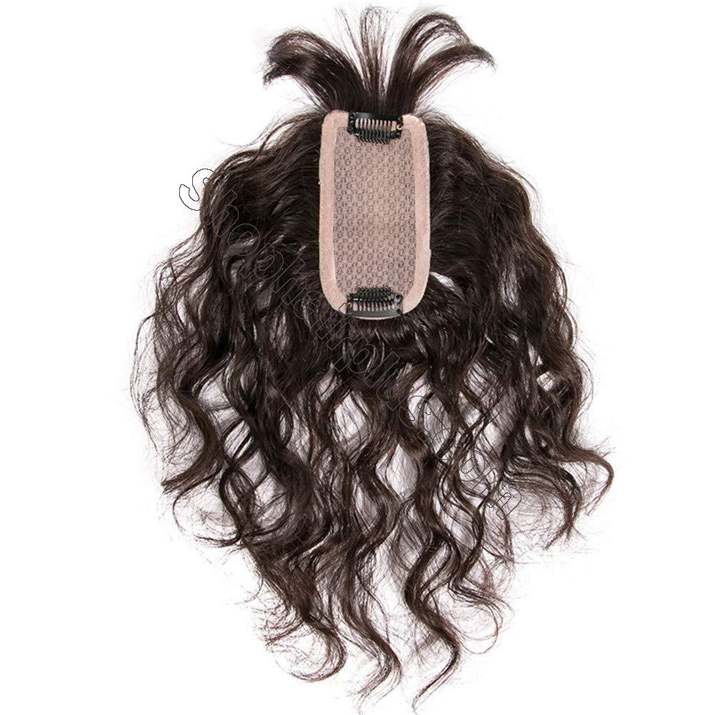 """Human Hair Topper Hairpieces with Bangs for Female Hair Loss, 2.4"""" x 4.7"""" Silk Base Hairline Toppers Curly Top Hair Piece 2"""