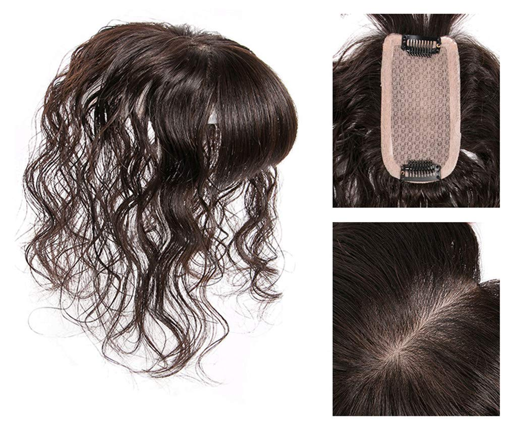 """Human Hair Topper Hairpieces with Bangs for Female Hair Loss, 2.4"""" x 4.7"""" Silk Base Hairline Toppers Curly Top Hair Piece 4"""