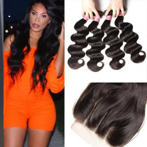 Human Hair Virgin Indian Body Wave Weave 4 Bundles With Lace Closure