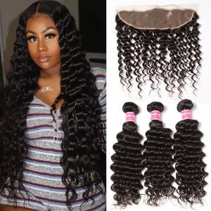 Indian Deep Wave 3 Bundles with 13*4 Ear to Ear Lace Frontal Closure Deals