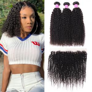 Indian Kinky Curly Hair 3 Bundles with Lace Frontal Closure