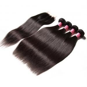 Indian Straight Hair 4 Bundles with 4*4 Lace Closure Deals