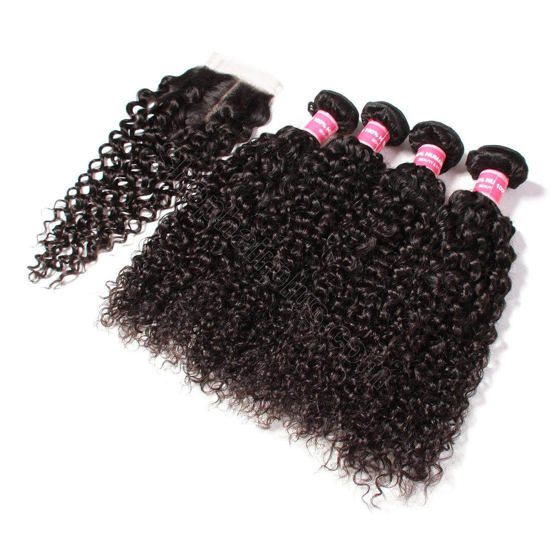 Indian Virgin Curly Hair 4 Bundles with 4*4 Lace Closure-Klaiyi Hair 2