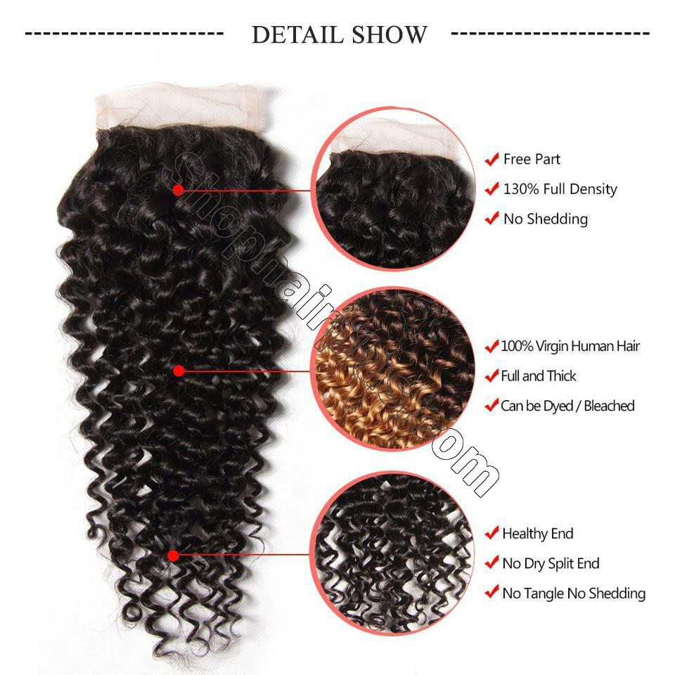 Indian Virgin Curly Hair 4 Bundles with 4*4 Lace Closure-Klaiyi Hair 7