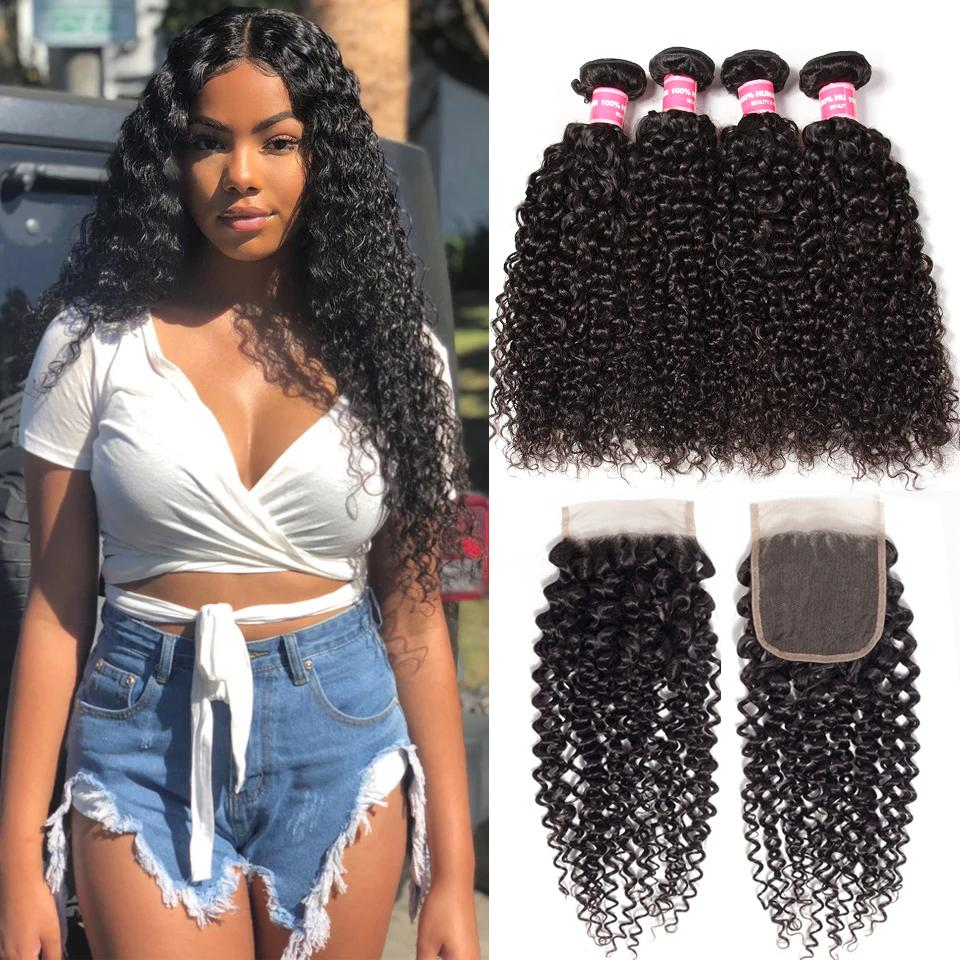 Indian Virgin Curly Hair 4 Bundles with 4*4 Lace Closure-Klaiyi Hair 10