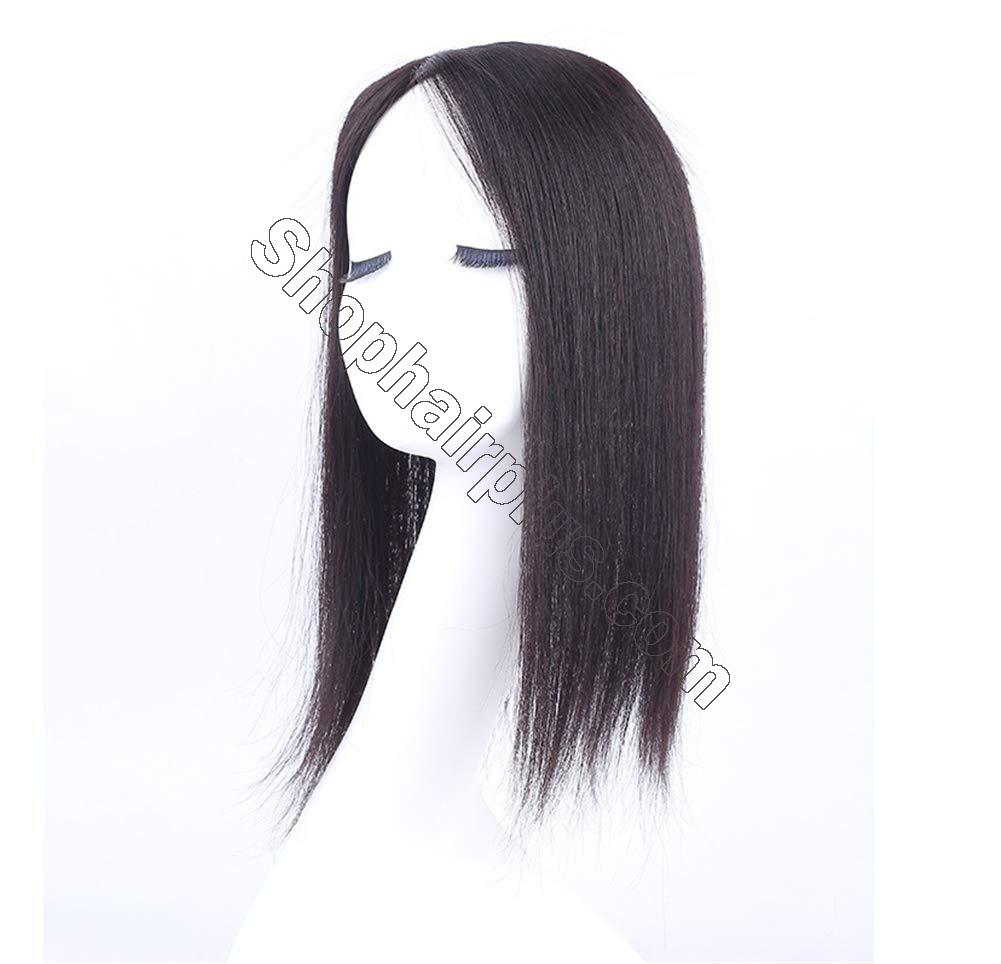 """Instantly Human Hair Topper Wiglets Hairpieces for Thinning Hair, 5"""" x 5.5"""" Mono Crown Topper with Clips for Women 2"""