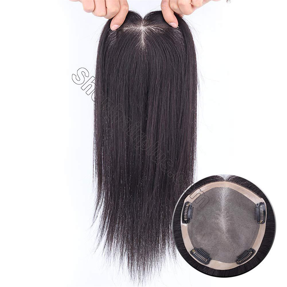 """Instantly Human Hair Topper Wiglets Hairpieces for Thinning Hair, 5"""" x 5.5"""" Mono Crown Topper with Clips for Women 3"""