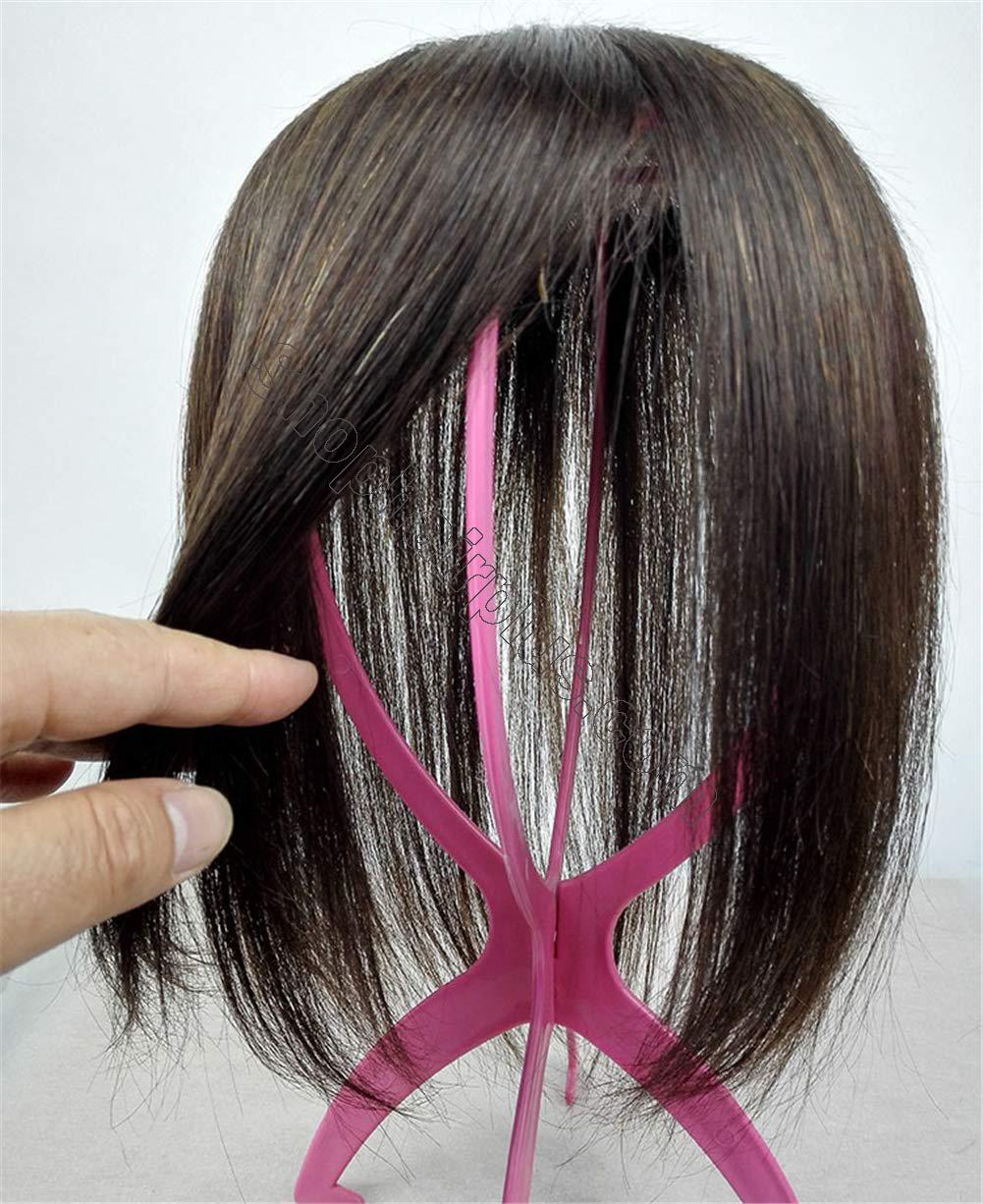 """Instantly Human Hair Topper Wiglets Hairpieces for Thinning Hair, 5"""" x 5.5"""" Mono Crown Topper with Clips for Women 5"""