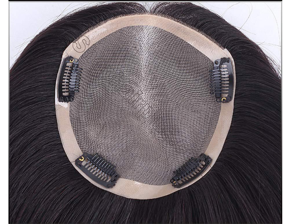 """Instantly Human Hair Topper Wiglets Hairpieces for Thinning Hair, 5"""" x 5.5"""" Mono Crown Topper with Clips for Women 6"""