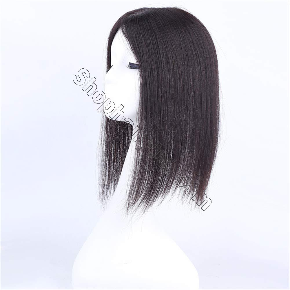 """Instantly Human Hair Topper Wiglets Hairpieces for Thinning Hair, 5"""" x 5.5"""" Mono Crown Topper with Clips for Women 7"""