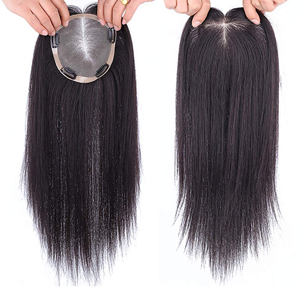 """Instantly Human Hair Topper Wiglets Hairpieces for Thinning Hair, 5"""" x 5.5"""" Mono Crown Topper with Clips for Women 9"""
