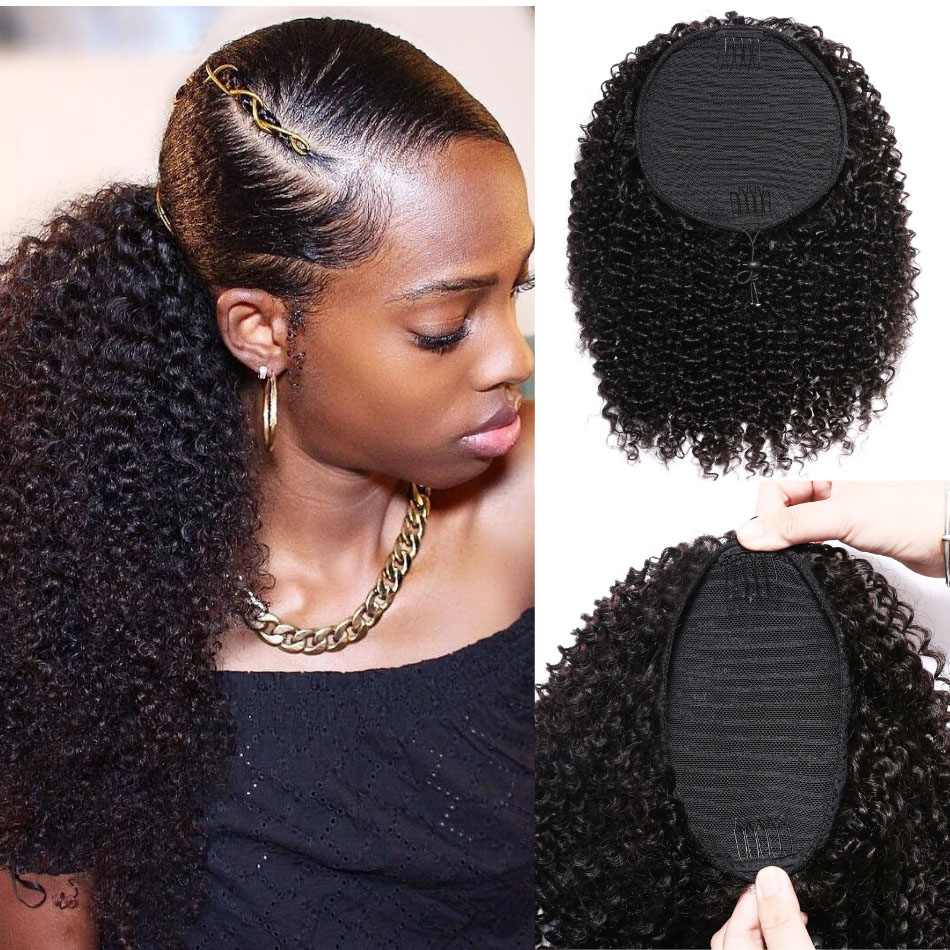 "10-24"" Kinky Curly Drawstring Ponytail Clip In Hair Extensions Brazilian Virgin Hair Afro Puff"
