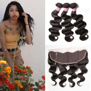 Malaysian Body Wave 3 Bundles with Ear To Ear Lace Frontal Closure, 100% Virgin Human Hair Weave Bundles