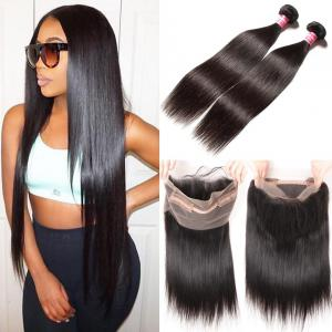 Malaysian Straight Hair  2 Bundles with 1 Piece 360 Lace Frontal Closure