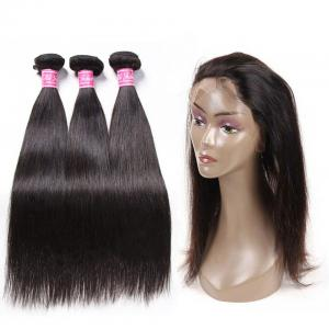 Malaysian Straight Hair 3 Bundles With 360 Lace Frontal Closure Natural Hairline