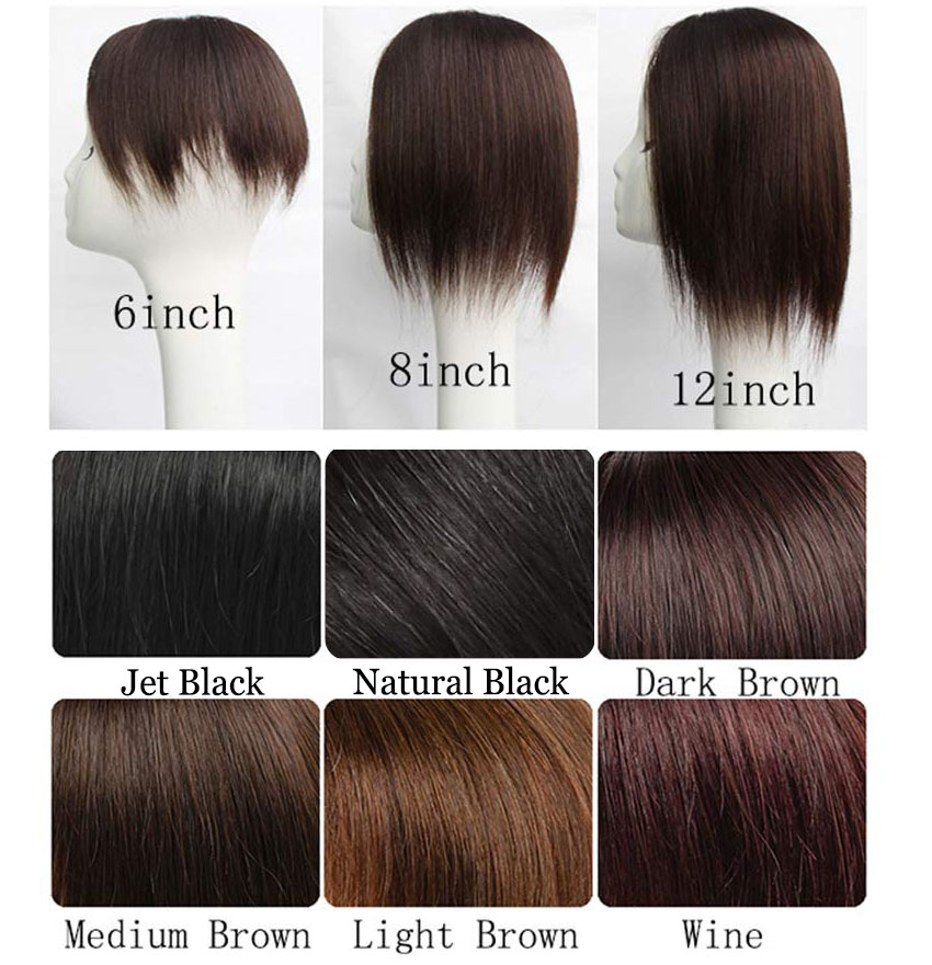 Women's Hair Topper with Bangs for Thinning Hair Clip in Real Human Hair Toupee Hairpieces Color Chart