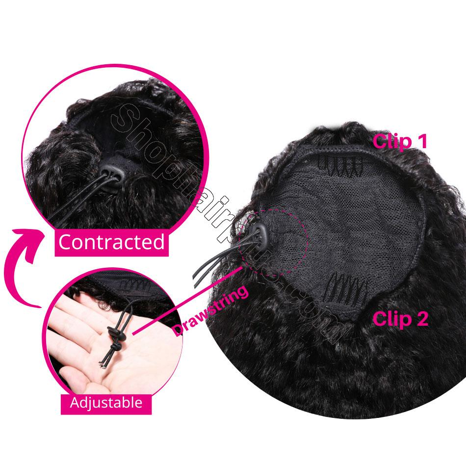 nky Curly Drawstring Ponytail Clip In Hair Extensions Brazilian Virgin Hair Afro Puff 3