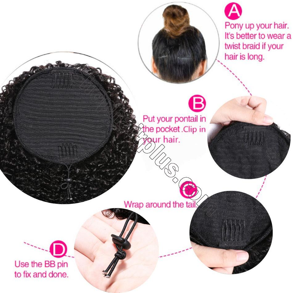 nky Curly Drawstring Ponytail Clip In Hair Extensions Brazilian Virgin Hair Afro Puff 4