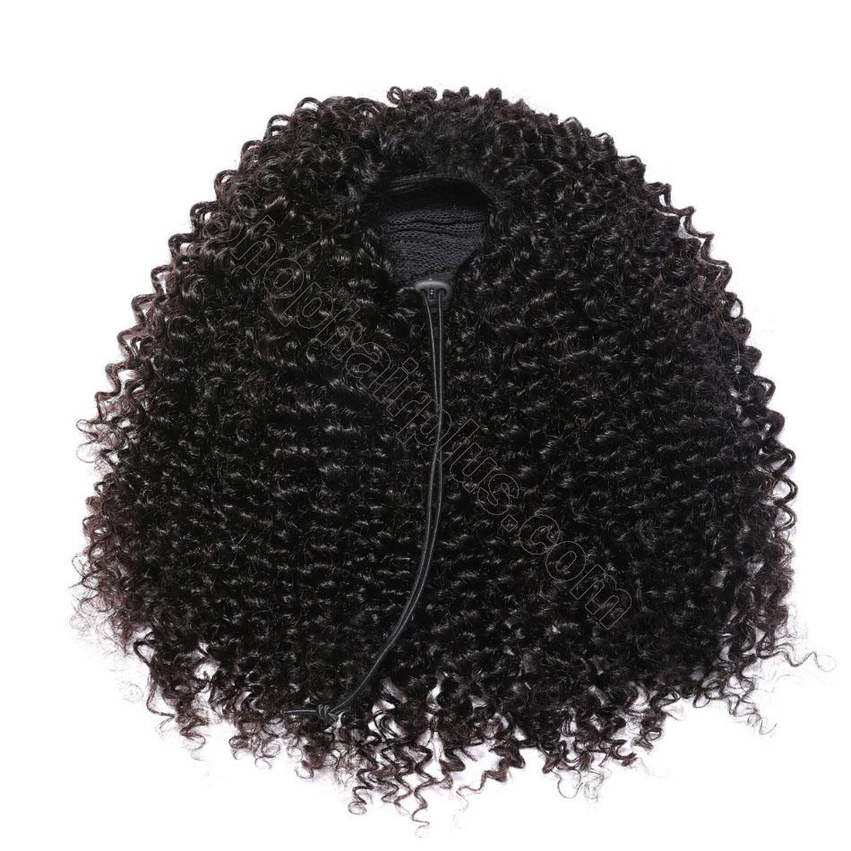 nky Curly Drawstring Ponytail Clip In Hair Extensions Brazilian Virgin Hair Afro Puff 6