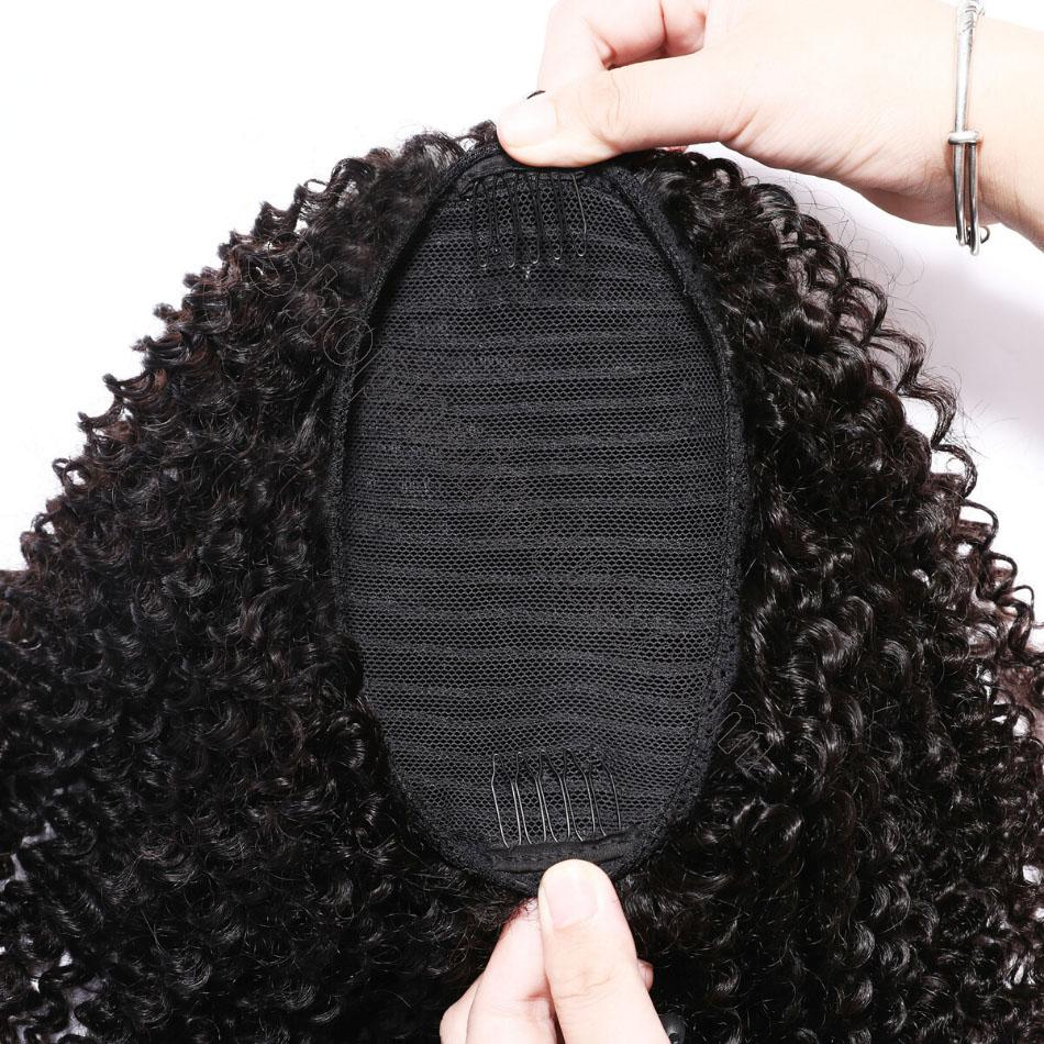 nky Curly Drawstring Ponytail Clip In Hair Extensions Brazilian Virgin Hair Afro Puff 7