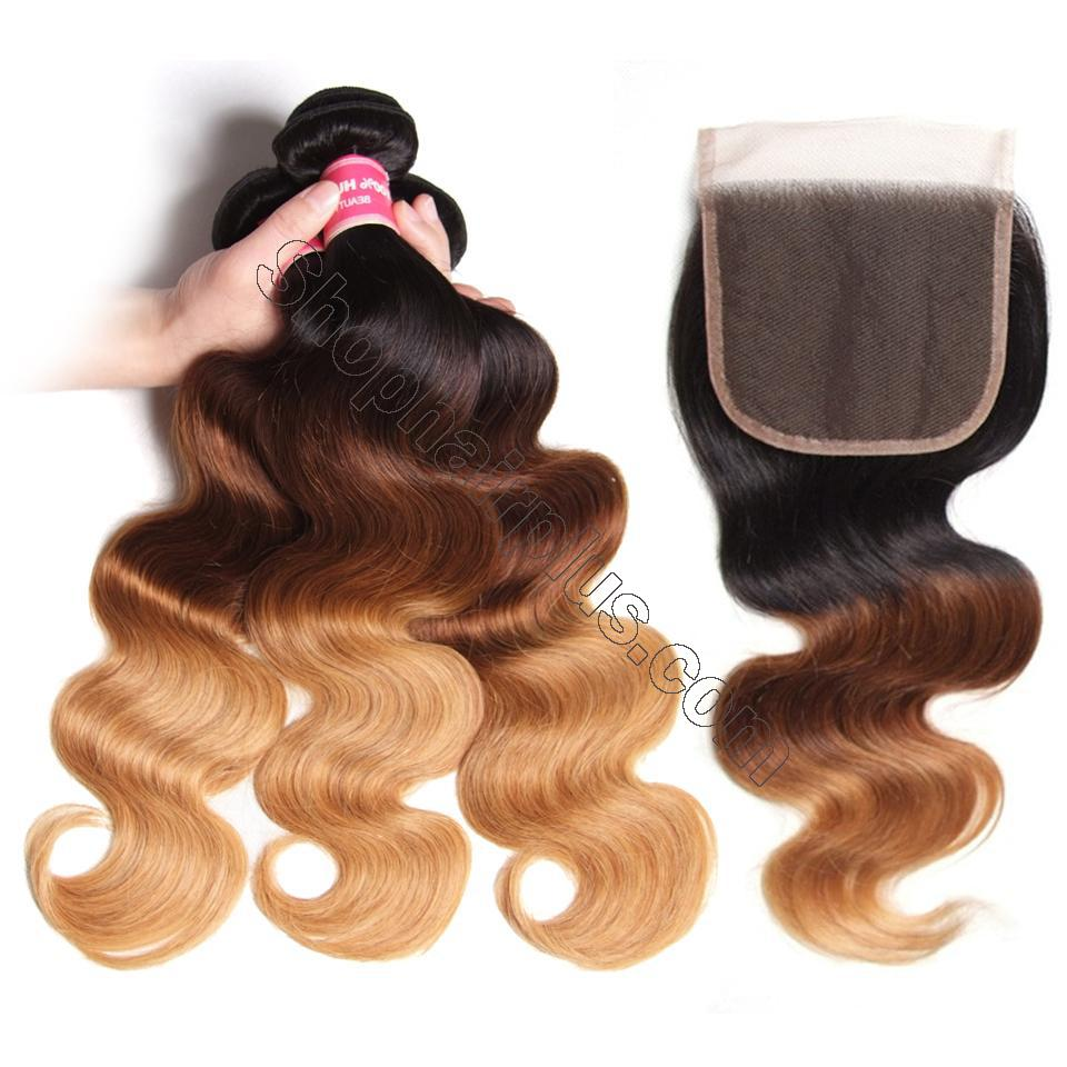 Ombré  Hair T1b/4/27 Body Wave Human Hair 3 Bundles with Lace Closure 3