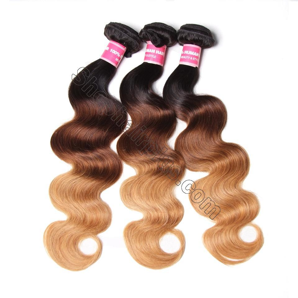 Ombré  Hair T1b/4/27 Body Wave Human Hair 3 Bundles with Lace Closure 9