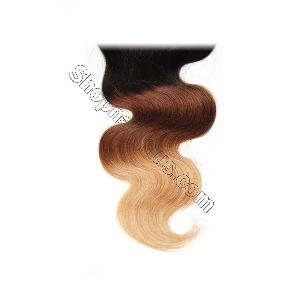 Ombré  Hair T1b/4/27 Body Wave Human Hair 3 Bundles with Lace Closure 11