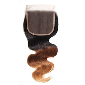 Ombré  T1B/4/27 Human Hair Lace Closure 4*4 Body Wave Hair Closure