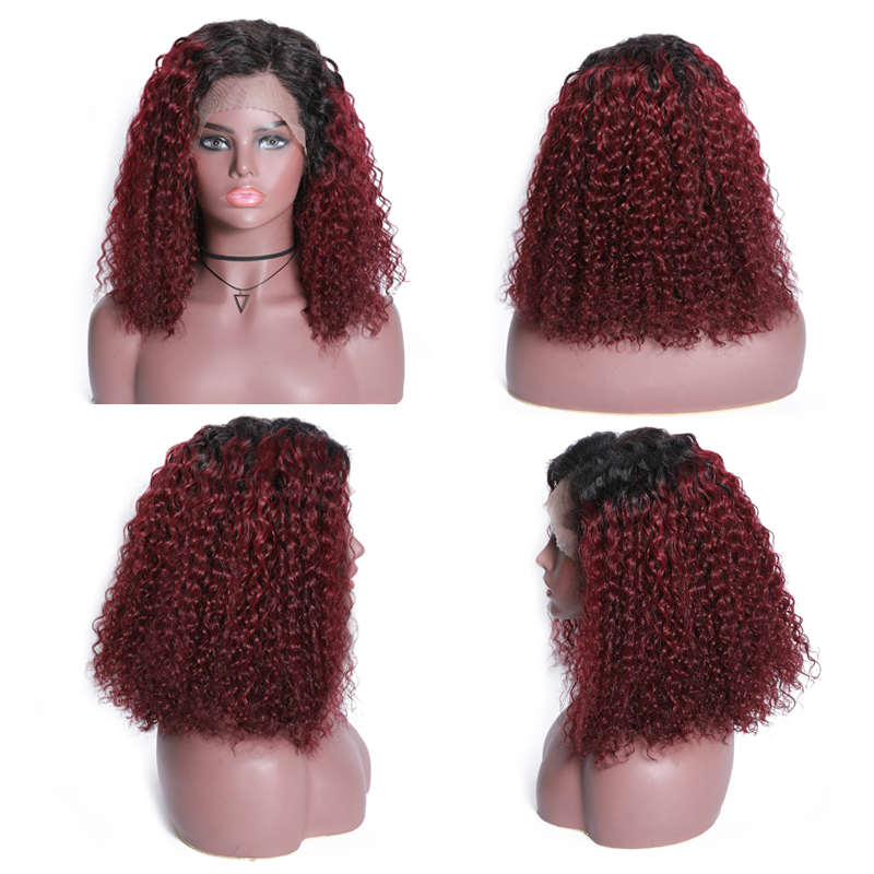 Ombre Color Curly Bob Human Hair Wigs Preplucked Short Curly Lace Front Wigs With Baby Hair 4
