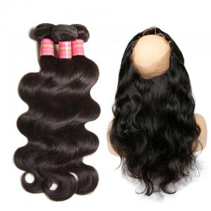 Peruvian Body Wave 3 Bundles with 360 Lace Frontal Hair Closure, 100% Unprocessed Virgin Human Hair Weave