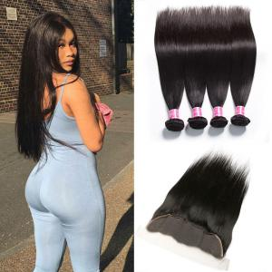 Peruvian Straight Hair 4 Bundles with Lace Frontal Closure Deals