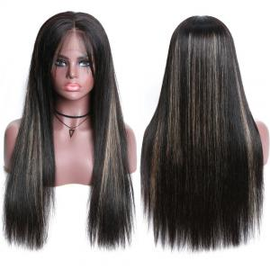 Pre Plucked Silky Straight Lace Front Wigs With Highlight Glueless Lace Frontal Human Hair Wigs 150% High Densit