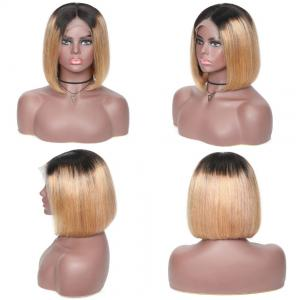 Preplucked T1b/27 Ombre Color Brazilian Straight Short Bob Wigs Ombre Lace Front Human Hair Wigs 1B 27 Bob Wigs 150% Densit