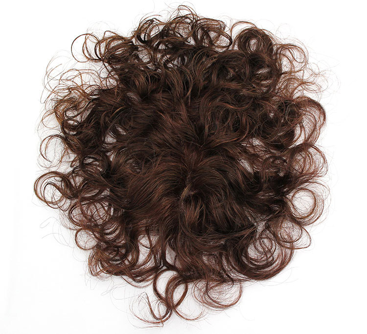 Silk Top Curly Human Hair Toppers for Women with Crown Thinning Hair, 6 Inch Short Clip on Bang Wiglet Hair Pieces 2