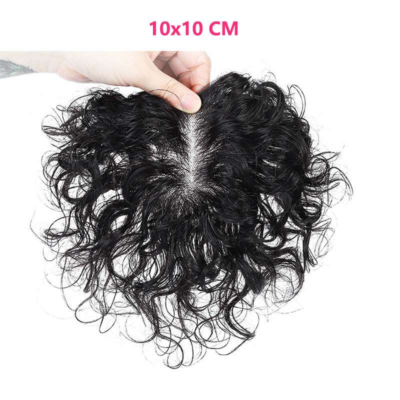 Silk Top Curly Human Hair Toppers for Women with Crown Thinning Hair, 6 Inch Short Clip on Bang Wiglet Hair Pieces 3