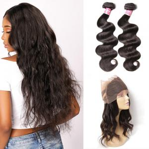 Virgin Indian Body Wave 2 Bundles with 1 Piece 360 Lace Frontal Closure