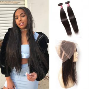 Virgin Indian Straight Hair  2 Bundles with 1 Piece 360 Lace Frontal Closure