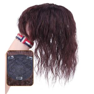 "Wavy Curly Human Hair Toppers for Women with Thinning Hair, 4.7""x5.5"" Clip in Top Hairpiece Bang Topper Wiglet"