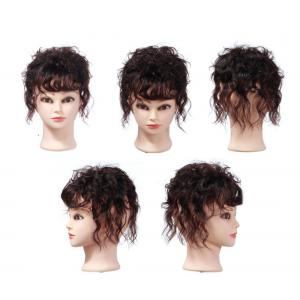"Women's 6.3"" Short Wavy Curly Human Hair Crown Topper Clip in Toupee Hairpieces for Thinning Hair"