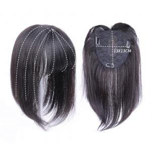 Women's Human Hair Toppers with Bangs, Clips on 13 x 13cm Crown Topper Wiglet for Thinning Hair