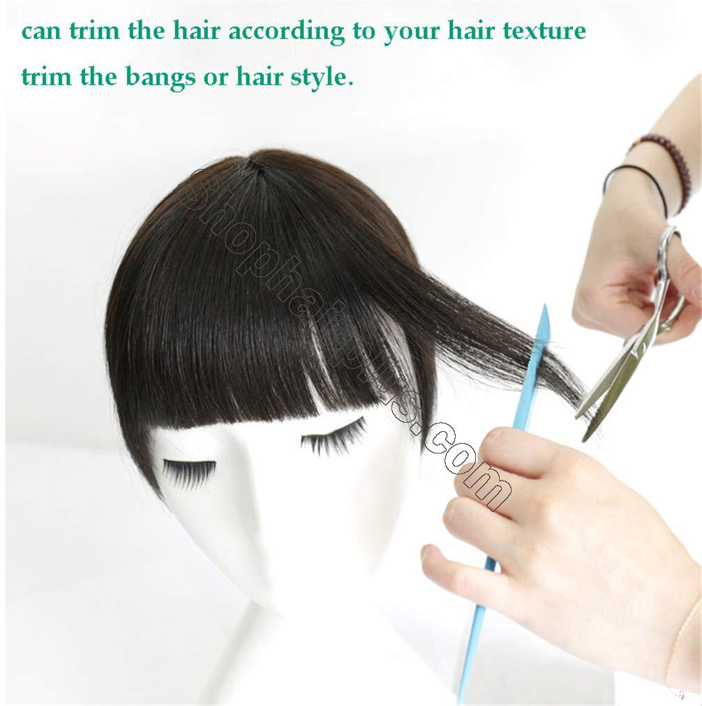 Women's Hair Topper with Bangs for Thinning Hair Clip in Real Human Hair Toupee Hairpieces 3