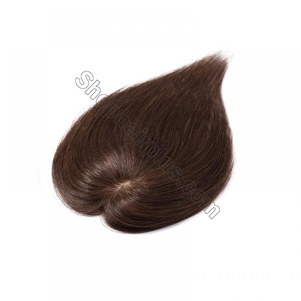 Women's Human Hair Toppers For Hair Loss or Thinning Hair #4 Medium Brown 3