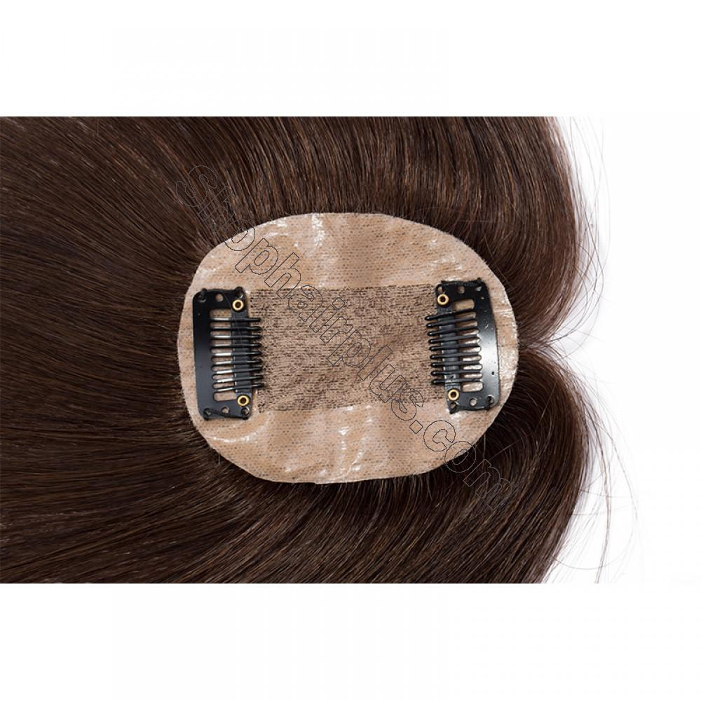 Women's Human Hair Toppers For Hair Loss or Thinning Hair #4 Medium Brown 6