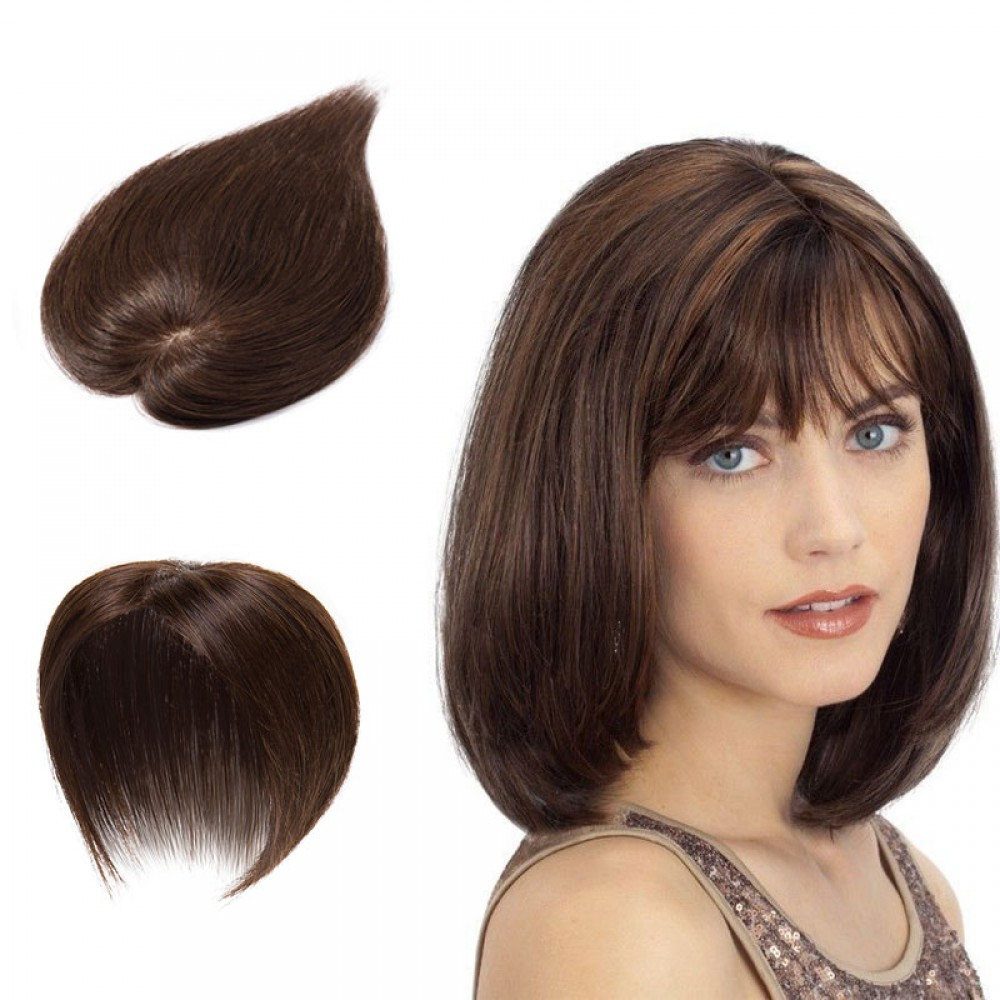 Women's Human Hair Toppers For Hair Loss or Thinning Hair #4 Medium Brown 10